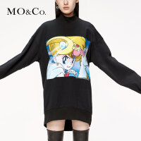 MOCO2019秋季新品小高领印花美少女卫衣裙MAI3DRS058 摩安珂