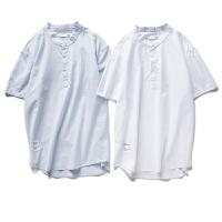 【秒杀价31元】唐狮夏款衬衫男士时尚休闲青年纯棉纯色贴标立领套头短Z