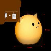 创意七彩萌宠硅胶灯动物小夜灯可爱拍拍灯充电遥控灯减压床头台灯 +充电插头