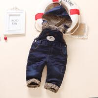 冬季0-1-2-3岁宝宝牛仔背带裤加绒男童长裤婴儿童背带裤加厚棉裤