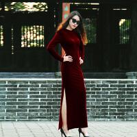 2017新款气质金丝绒晚礼服长款连衣裙修身显瘦大码旗袍侧开叉礼服