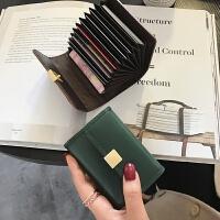 钱包女短款2018新款手拿薄款搭扣牛皮小钱包迷你银行卡卡包潮