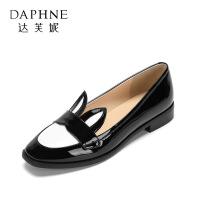 【达芙妮集团大牌日 限时2件2折】Daphne/达芙妮 viviflurs春夏 休闲拼色低跟女鞋 甜美兔耳圆头方跟单鞋