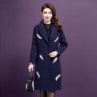中老年女装秋冬韩版毛呢外套女中长款中年女妈妈装西装领呢子大衣