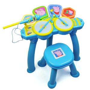 小猪佩奇男女孩宝宝儿童益智玩具初学者电子音乐架子鼓带麦克风