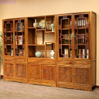 全实木中式仿古家具书柜书橱书架组合南榆木明清古典展示柜 0.8-1米宽