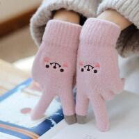 圣诞节礼物手套女冬季韩版潮学生冬天加厚防寒保暖可爱针织毛线五指触屏手套送女友 均码