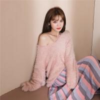 chuu慵懒风马海毛学生长袖针织衫女2019冬季新款韩版宽松v领毛衣
