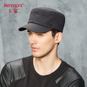 卡蒙秋冬季黑色帽子男可调节中老年保暖短鸭舌帽户外休闲平顶军帽 2679