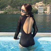 2018新款韩国连体泳衣女性感比基尼蕾丝漏背长袖遮肚显瘦小胸聚拢温泉泳装 黑色
