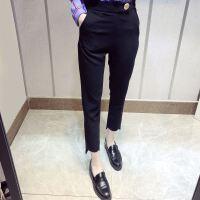 18夏季九分裤子女薄款休闲小脚裤西装裤黑色宽松阔腿裤哈伦裤潮