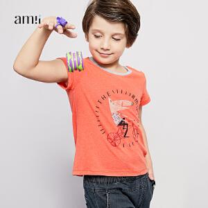 【尾品汇 5折直降】amii男中大儿童T恤2018夏装新款韩版潮帅气上衣12-15岁时尚男孩