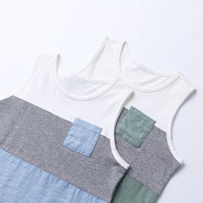 AMII童装2017夏季男童中大童圆领背心休闲无袖薄短T儿童夏装.