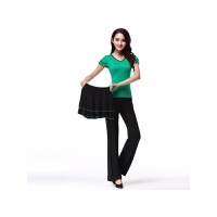 新款广场舞服装套装短袖上衣长裤裙子三件套跳舞蹈表演出 2