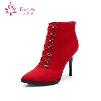 Daphne/达芙妮女靴 冬季细高跟短靴 系带尖头磨砂布深口女靴