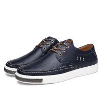 潮流男鞋新款休闲皮鞋男士鞋子真皮英伦日常休闲鞋系带男板鞋