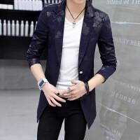 秋冬季小西装男韩版潮流修身中长款青年休闲帅气印花男士西服上衣 (1305)藏青色 XL