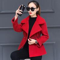 反季处理秋冬毛呢外套女装冬装加厚短款小个子呢子大衣矮个子外套 红色1304