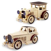 3D木质立体拼图 老爷车木制静态模型儿童益智拼插智力玩具车