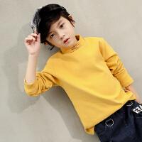 儿童卫衣绒厚打底衫秋冬高领套头衫韩版男孩