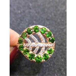 纯天然俄罗斯透辉石戒指,电光森林绿