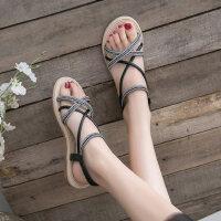 户外凉鞋女韩版仙女休闲时尚百搭一字带平底罗马鞋