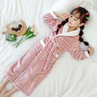 儿童浴袍珊瑚绒睡袍法兰绒秋冬季女童长款睡裙女孩翻领宝宝睡衣
