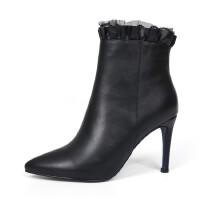 潮流百搭马丁靴年秋季欧美头层牛皮女靴侧拉链尖头高跟女鞋