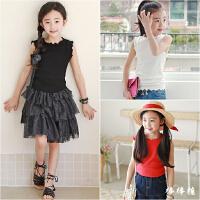 韩国童装女童无袖T恤夏季纯棉韩版中大童木耳边白色吊带背心百搭