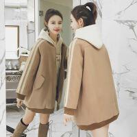 毛呢外套女中长款冬季加厚棒球服韩版小个子宽松茧型chic呢外套
