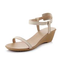 ELEISE美国艾蕾莎新品017-D-8甜美头层牛皮真皮里外全皮坡跟简约舒适百搭女士凉鞋