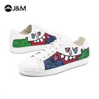 jm快乐玛丽秋季新款平底涂鸦系带个性舒适板鞋小白鞋女