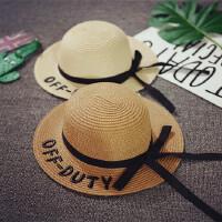 儿童草帽女宝宝遮阳帽大沿沙滩帽度假公主帽夏季韩版潮可折叠防晒