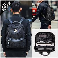fse 双肩包男时尚潮流迷彩背包男士休闲旅行包包韩版青年电脑包 迷彩黑色+15天包退+质量三包+运费险