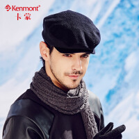 kenmont男士帽子秋冬时尚毛呢贝雷帽男休闲户外鸭舌帽英伦八角帽2407