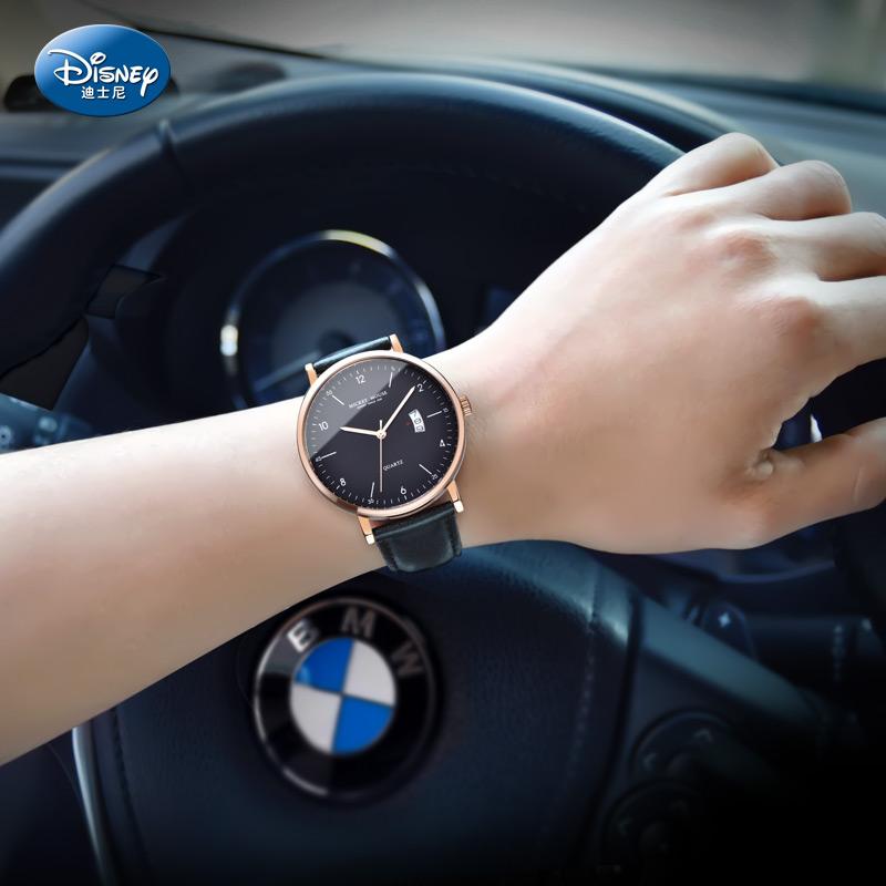 新款迪士尼男士手表时尚潮流休闲日历商务腕表青少年学生男表 送手环