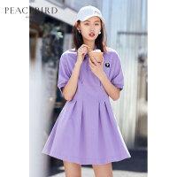 太平鸟女装紫色短袖直筒polo连衣裙女夏装2019新款欧美风中长款裙