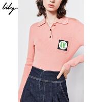 【不打烊价:231元】 Lily2019冬新款女装气质POLO领撞色字母口袋罗纹打底毛针织衫8996