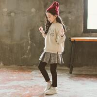 女童套装秋冬款加绒时髦中大童两件套
