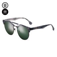 音米新款时尚半框太阳镜女 个性双梁墨镜男士司机镜 开车眼镜 AASABB715