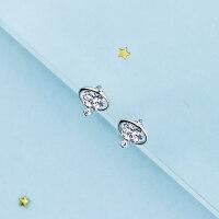 925纯银镶钻网红夏天耳环超仙气质韩国个性创意百搭耳钉女耳饰 地球仪耳钉一对