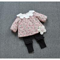 女宝宝薄棉衣女童夹棉花瓣领娃娃衫上衣婴幼童冬季樱桃碎花外套