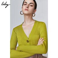 【5/26-6/1 一口价:279元】 Lily秋女装气质纯色V领单排扣修身口袋羊毛针织衫女3967