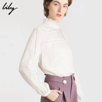 Lily2019冬新款女装气质条纹镂空荷叶领宽松插肩袖打底雪纺衫8E39