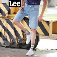 Lee男装 2018春夏中腰修身LOGO印花牛仔短裤潮 L270471BT5FN