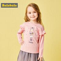 巴拉巴拉女童T恤 长袖宝宝打底衫儿童秋装2018新款女小童卡通上衣