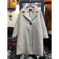 V8新款韩版仿貂绒毛呢外套 女装冬季中长款加厚一粒扣呢子大衣1.2
