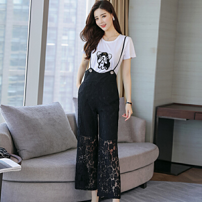 蕾丝连体裤套装韩版高腰显瘦背带裤2018新款连体裤夏装