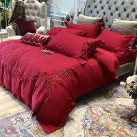欧式全棉新婚庆喜被床品四件套结婚房1.8m刺绣大红色纯棉床上用品