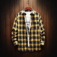新款格子长袖男士衬衫格子韩版潮流帅气青少年学生休闲衬衣男寸衣